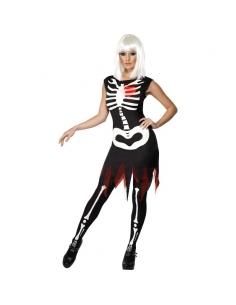 Déguisement femme squelette rougeoyant  | Déguisement