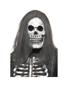Masque de squelette sinistre avec cheveux gris | Accessoires