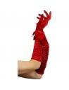 Gants long plissés rouge | Accessoires