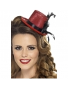 Mini chapeau rouge ruban et plume | Accessoires