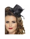 Mini chapeau noir ruban et plume | Accessoires
