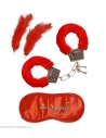 LOVERS' FUN SET (plush handcuffs, blindfold, 2 feathers)