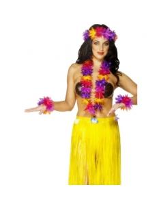 Set hawaïen collier + bracelets + bandeau | Déguisement