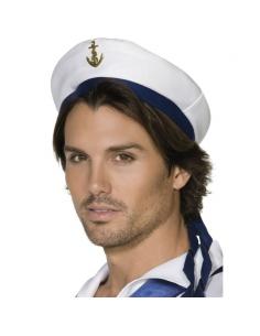 Chapeau marin blanc bande bleue ancre dorée | Accessoires