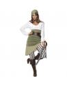 Déguisement femme pirate (haut, jupe, collant, bandana, ceinture et sur-chausse