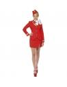 Déguisement Hôtesse de l'air rouge, femme (veste, jupe, 'écharpe et coiffe)