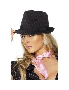 Chapeau gangster femme noir raye rose | Accessoires
