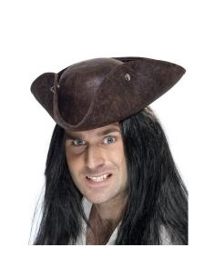 Chapeau tricorne pirate marron | Accessoires