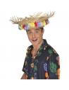 Chapeau paille hawaï avec fleurs   Accessoires