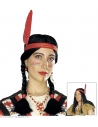 Perruque noire d'indien avec deux tresses et un bandeau à plume rouge (mixte)