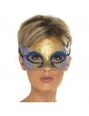 Masque vénitien bleu et or à paillettes   Accessoires