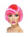 Perruque carrée frange rose fluo | Accessoires