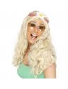 Perruque hippie mixte blonde avec marguerite   Accessoires