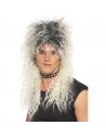 Perruque hard rocker noire et blanche   Accessoires