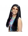Perruque hippie longue noire | Accessoires