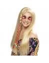Perruque hippie blonde avec perles colorées | Accessoires