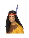 Perruque brave indien avec bandeau et plume | Accessoires